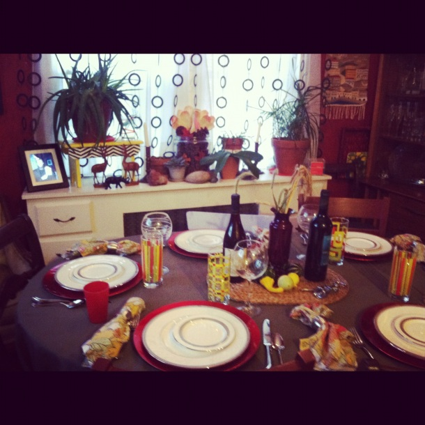 Thanksgiving table is set