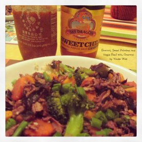 Broccoli, Sweet Potatoes and Veggie Beef withCouscous