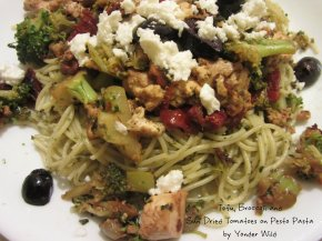 Tofu, Broccoli & Sun Dried Tomatoes on Pesto Pasta