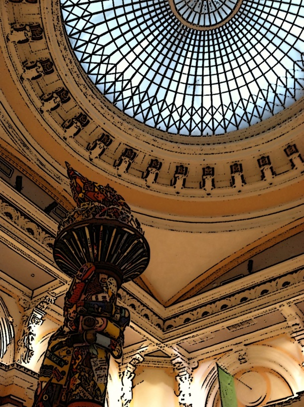 Memorial Hall Dome and Statute of Liberty arm and torch replica