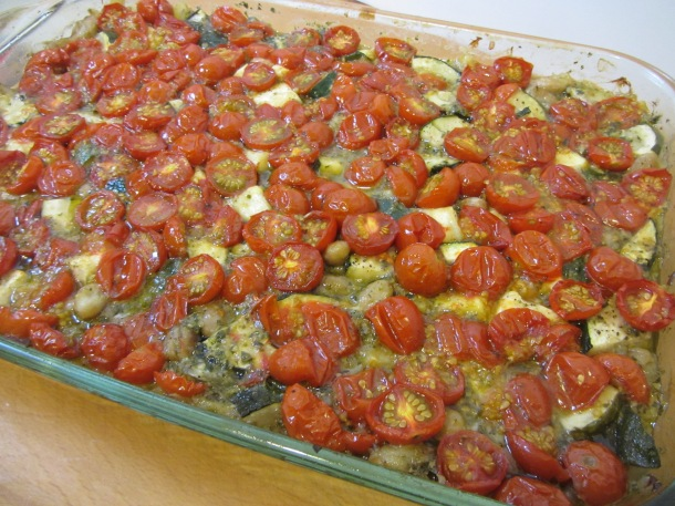Veggie Harvest Casserole hot out of the oven