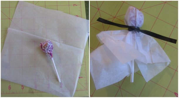 wrap lollipops with tissue