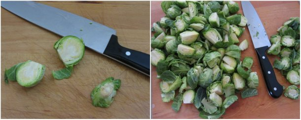 de-stem and cut the brussel sprouts