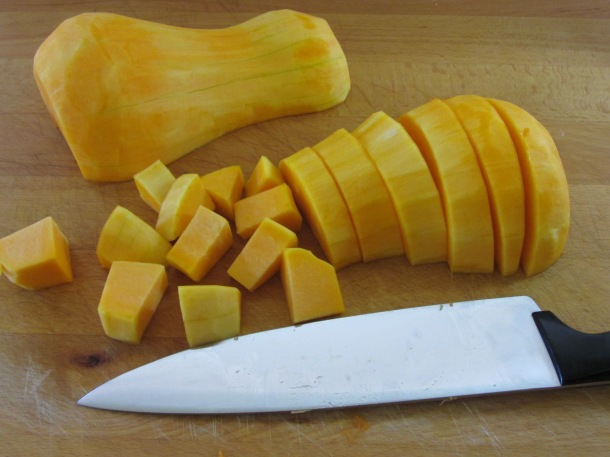 cut squash into even chunks