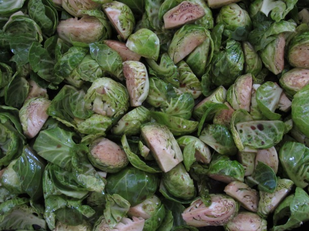 coat brussel sprouts with seasoning
