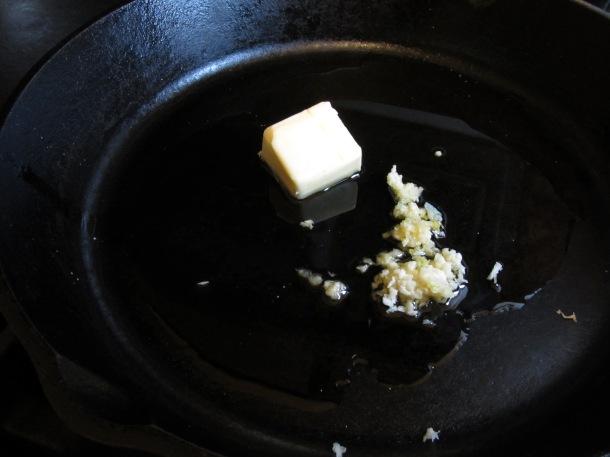 melt oil, butter, and garlic together