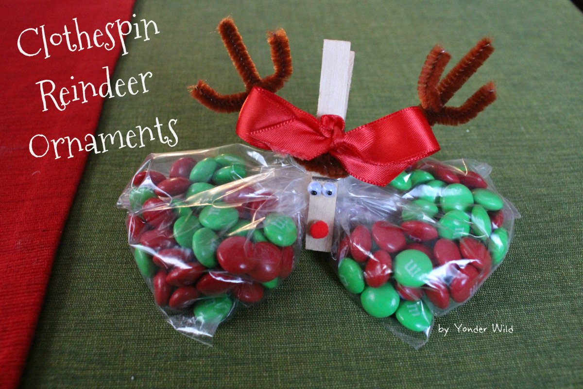 Clothespin reindeer ornaments yonder wild for Close pin crafts